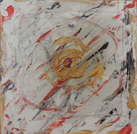 Clinamen, 24 x 24 olio su tela 2018 proprietario Cecconi