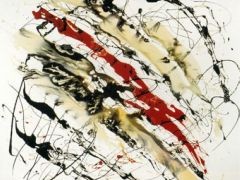 Fluttua sull'onda scura, 1974, 100x100, smalto su tela