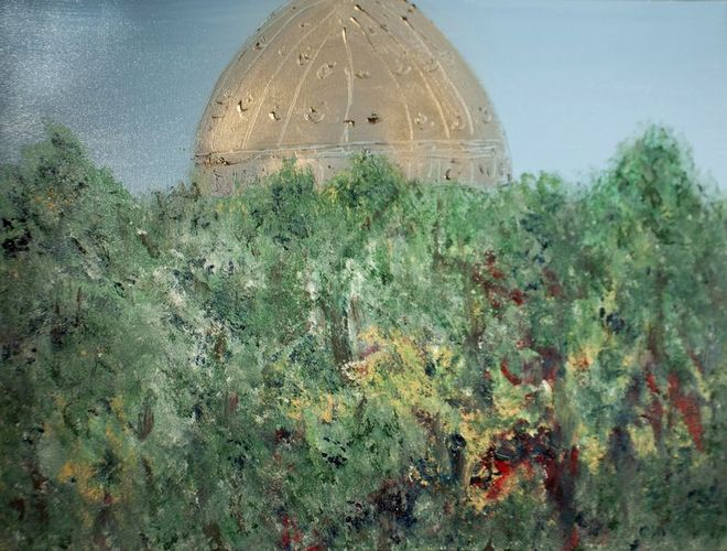 dalla natura allo spirito, 89x60, smalto su tela, 2011