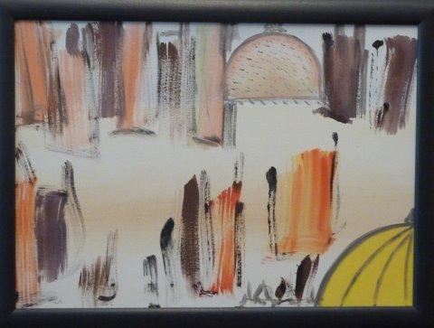 Cupola gialla 50 x 70 smalto su tela 1998 proprietà Albano. Genova