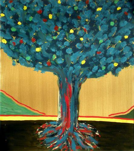 Albero dei 40 anni, smalto su tela, 1986, 70x80, propr. giovanni frattoloni, torino