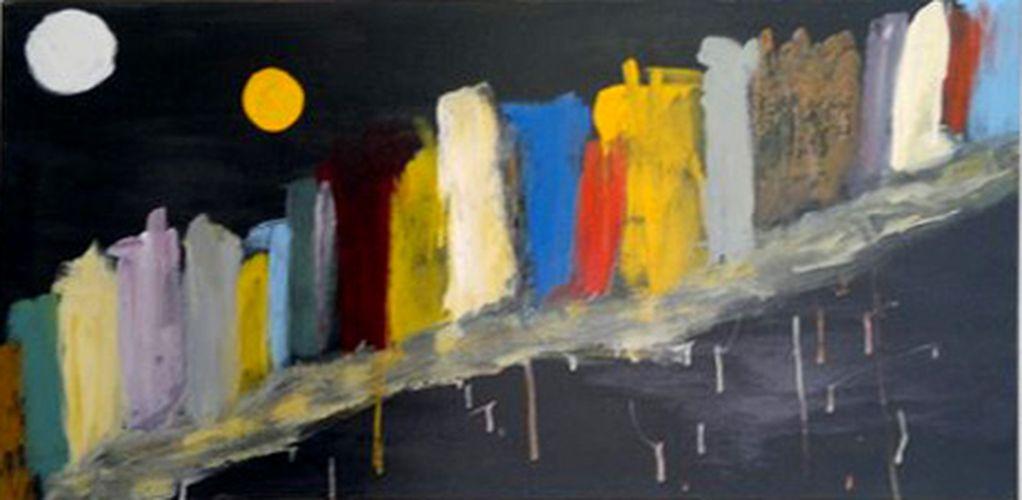 Notturno, 50x100, 1982, smalto su tela, propr. alberto lancellotti, torino