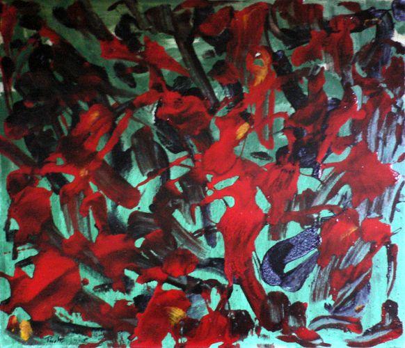 Le presenze inquiete, 1991, 60x70, smalto su tela, propr. mario capocaccia