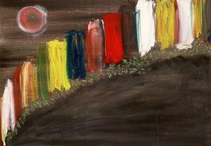 Notturno luminoso, smalto su cartoncino telato, 60x50, 1996, propr. anna rosa bozzone, arenzano (ge)