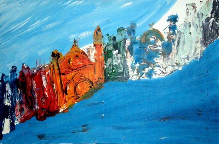 Onda blu, smalto su tela, 2006 ,120x80, giovanni frattoloni, torino